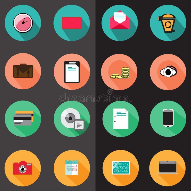 Sistema de diversos iconos planos libre illustration