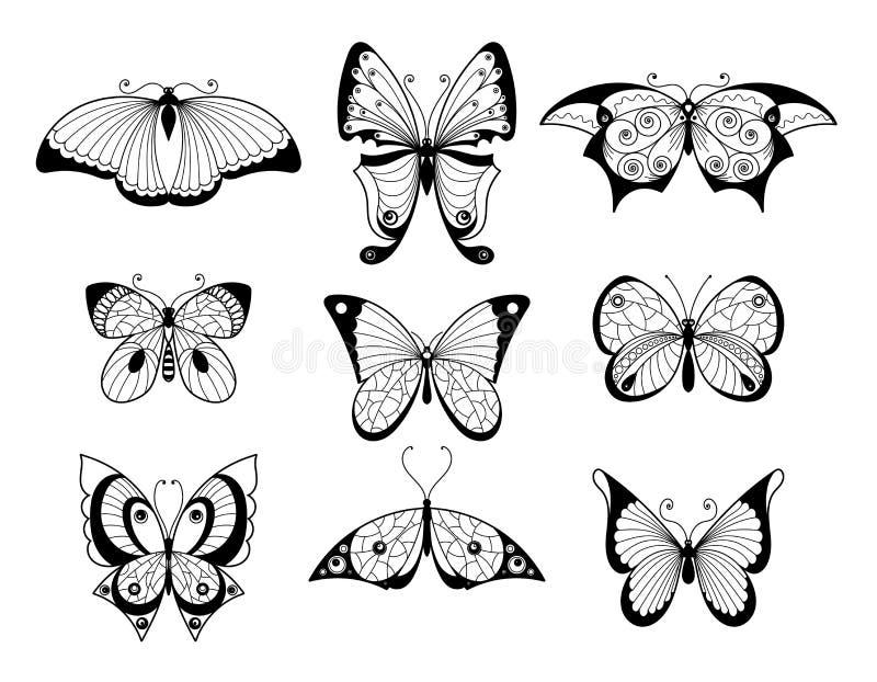 Sistema de diversos mariposas e insectos con los modelos hermosos en las alas Ejemplos dibujados mano del vector ilustración del vector