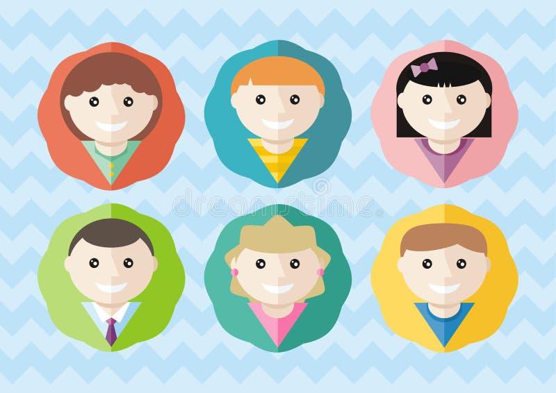 Sistema de diversos muchachos y de muchachas de los avatares redondos libre illustration