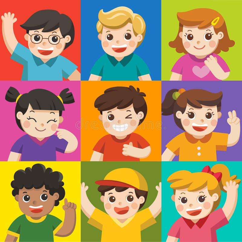 Sistema de diversos niños con diversas posturas Avatares de muchachos y ilustración del vector