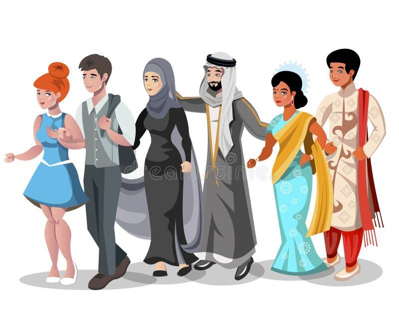 Sistema de diversos pares y familias ilustración del vector