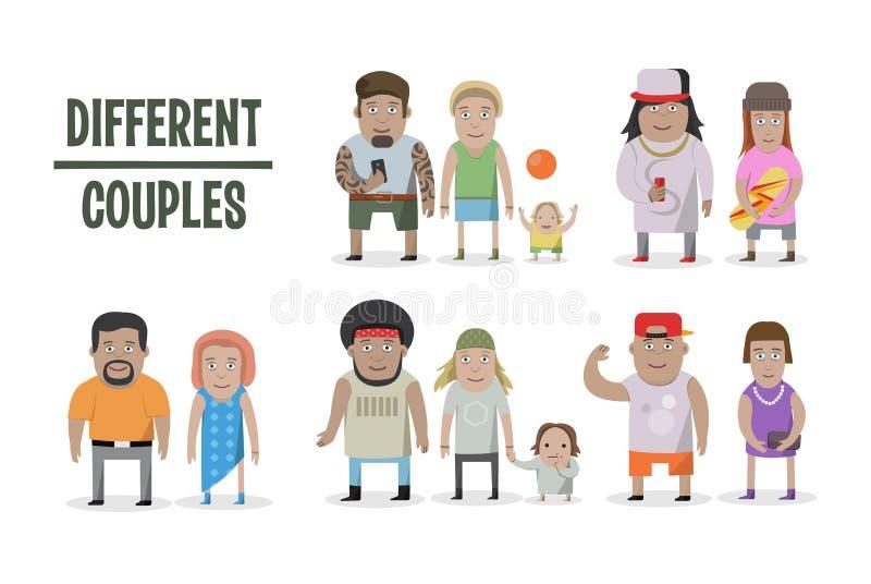 Sistema de diversos pares y familias Gente del estilo de la historieta, con el bebé libre illustration