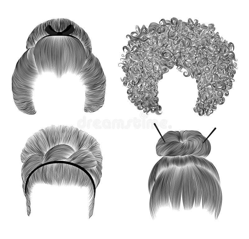 Sistema de diversos pelos divertidos de las mujeres bosquejo del dibujo de l?piz de la franja bollo hairstile japon?s con el pasa libre illustration