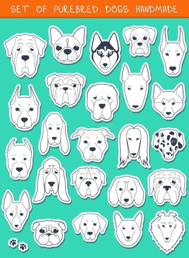 Sistema de 24 diversos perros de las razas de las etiquetas engomadas, hecho a mano Perro principal ilustración del vector