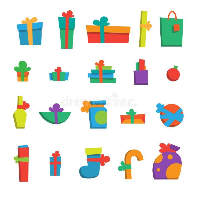 Sistema de diversos regalos por Feliz Año Nuevo libre illustration