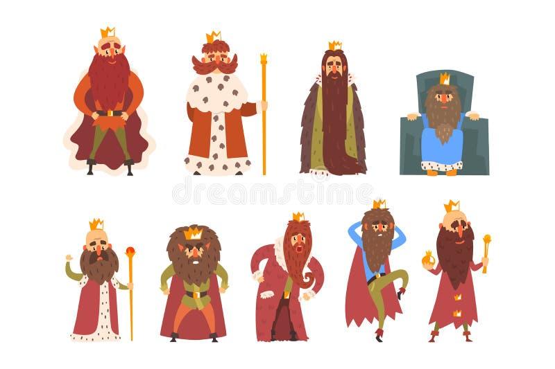 Sistema de diversos reyes barbudos divertidos en diversas acciones Viejos hombres que llevan las coronas, las chimeneas y la arma libre illustration