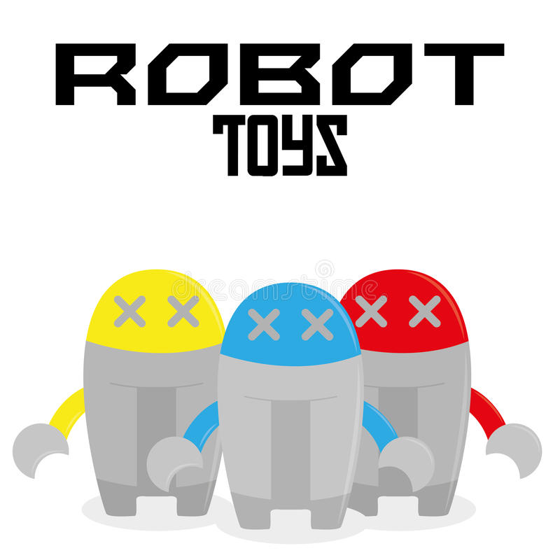 Sistema de diversos robots de la historieta aislados stock de ilustración