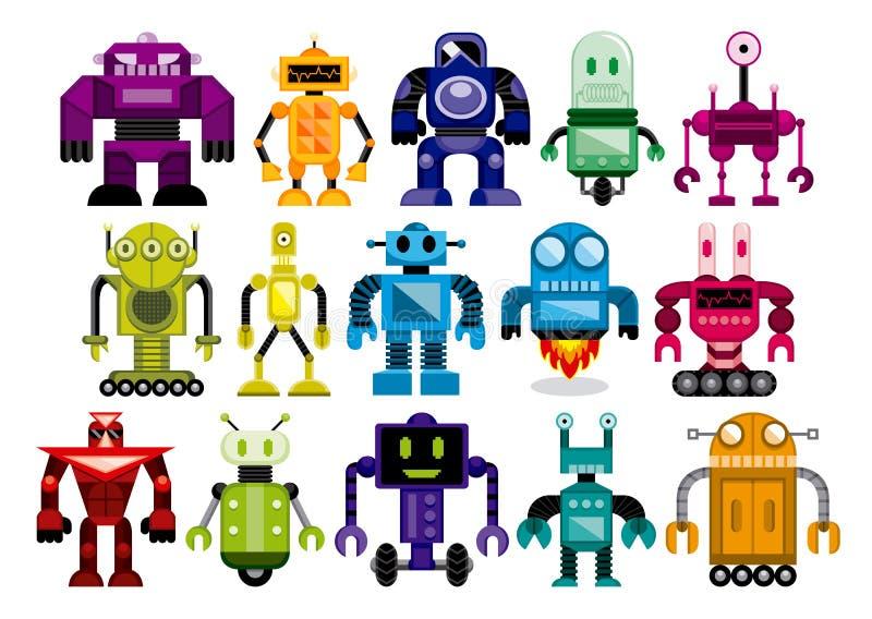 Sistema de diversos robots de la historieta aislados ilustración del vector