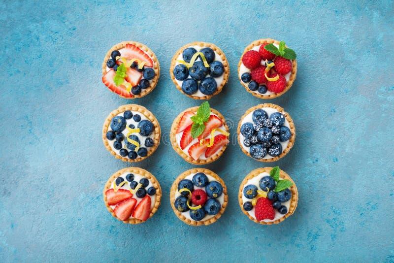 Sistema de diversos tartlets o torta con el queso cremoso y la baya del verano Opinión superior del postre de los pasteles fotografía de archivo libre de regalías