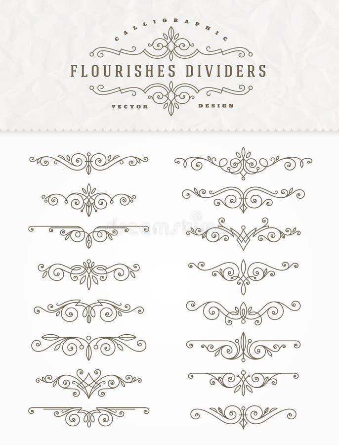 Sistema de divisores elegantes caligráficos de los flourishes stock de ilustración