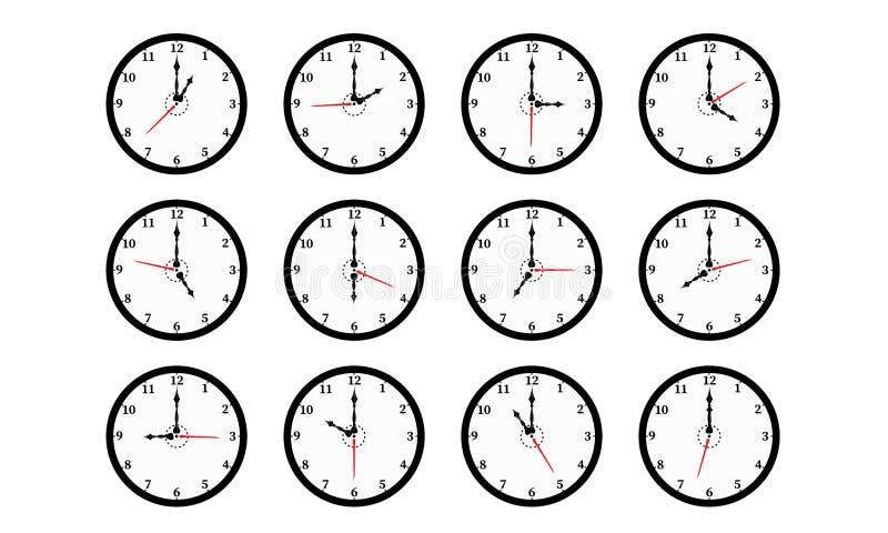 Sistema de doce relojes de pared negros redondos del color aislados en el fondo blanco, a partir el uno a doce libre illustration