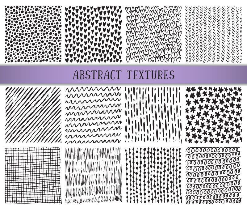 Sistema de doce texturas dibujadas mano del extracto de la tinta libre illustration