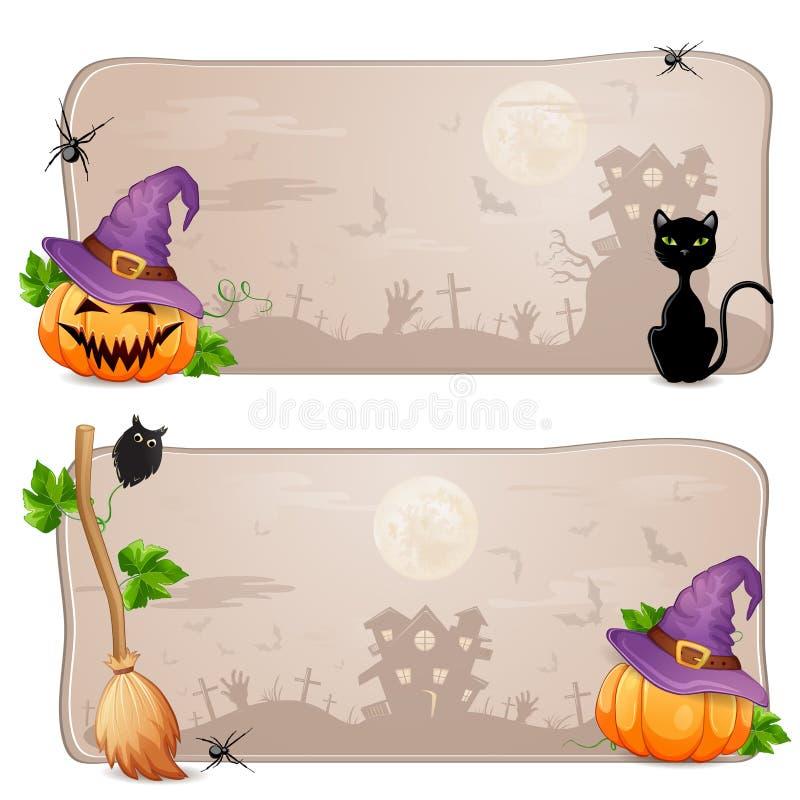 Download Sistema De Dos Banderas De Halloween Stock de ilustración - Ilustración de bosque, noche: 44850426