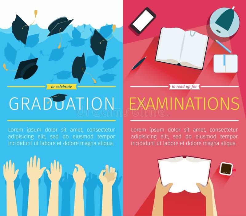 Sistema de dos banderas de la educación del vector Preparación para los exámenes stock de ilustración