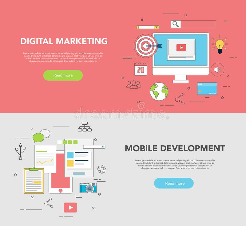 Sistema de dos banderas del web para el márketing de Digitaces del diseño gráfico y del desarrollo web stock de ilustración