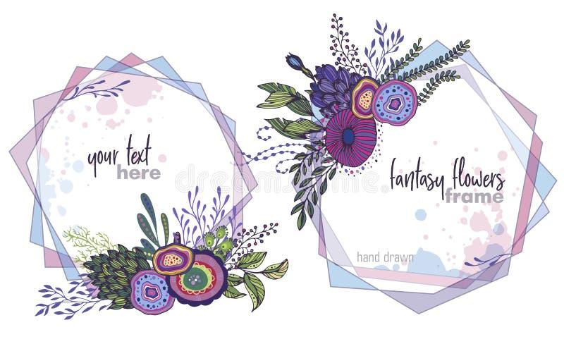 Sistema de dos bastidores florales del vector colorido con los ramos de flores fansy stock de ilustración