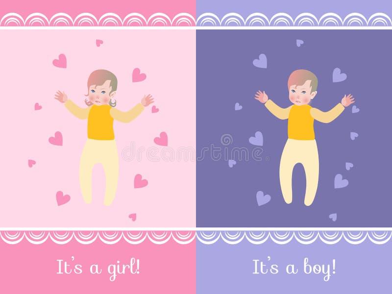 Sistema de dos tarjetas de felicitación de la fiesta de bienvenida al bebé - él ` s un muchacho y él ` s una muchacha libre illustration