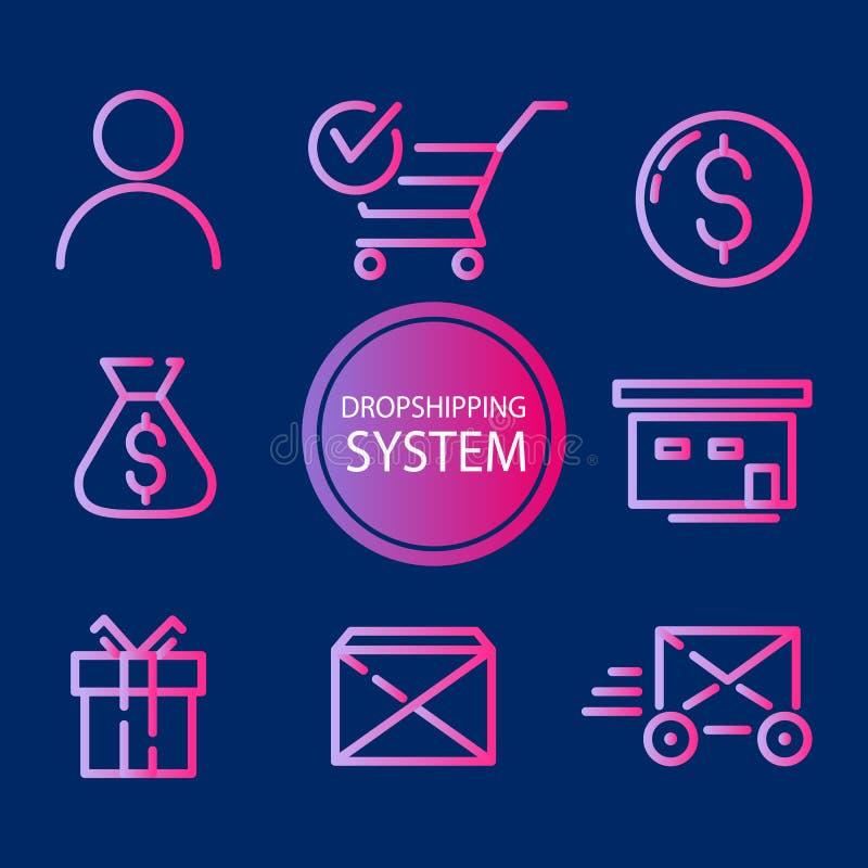Sistema de Dropshipping El sistema de ventas electrónicas resume iconos del colorfull en el sistema de dropshipping Elementos del stock de ilustración