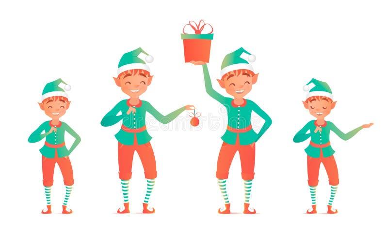 Sistema de duendes lindos de la Navidad Ilustración del vector ilustración del vector