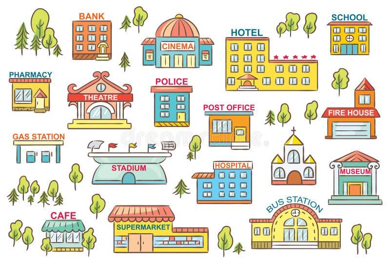 Sistema de edificios de la ciudad stock de ilustración