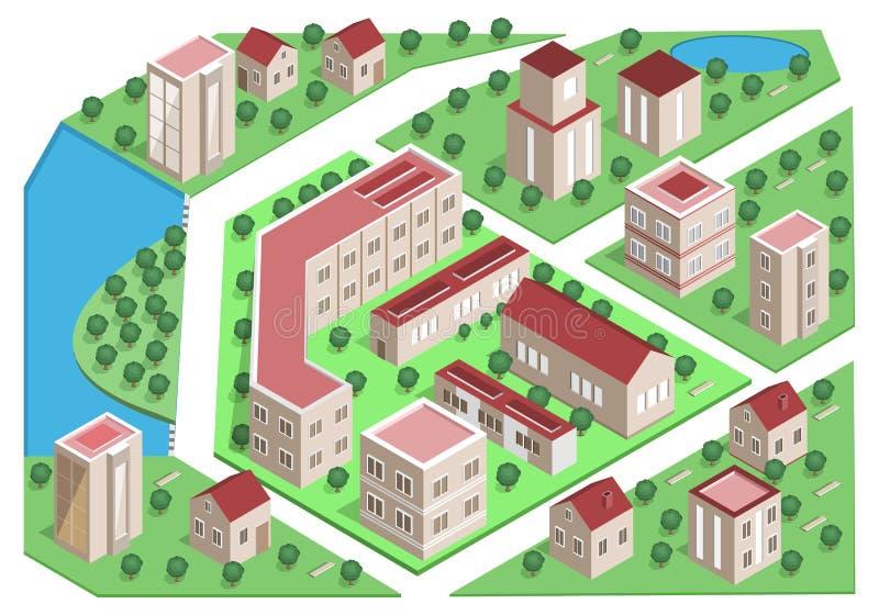 Sistema de edificios isométricos detallados de la ciudad ciudad isométrica del vector 3d stock de ilustración