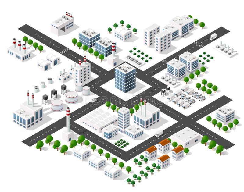 Sistema de edificios isométricos modernos ilustración del vector