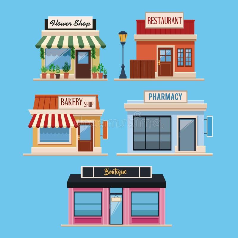 Sistema de edificios de tiendas stock de ilustración