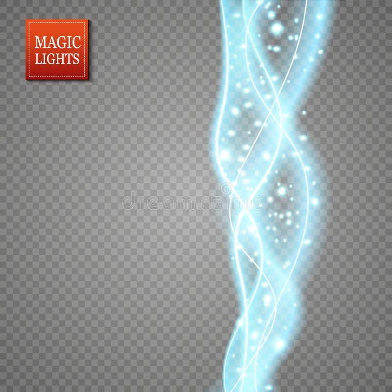 Sistema de efecto mágico del rastro del remolino de la chispa que brilla intensamente aislado sobre fondo transparente Línea de l libre illustration