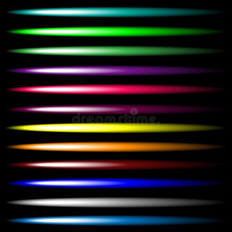 Sistema de efectos brillantes luminosos de la luz de neón del vector multicolor Diseño de interfaz de usuario Luz brillante futur ilustración del vector