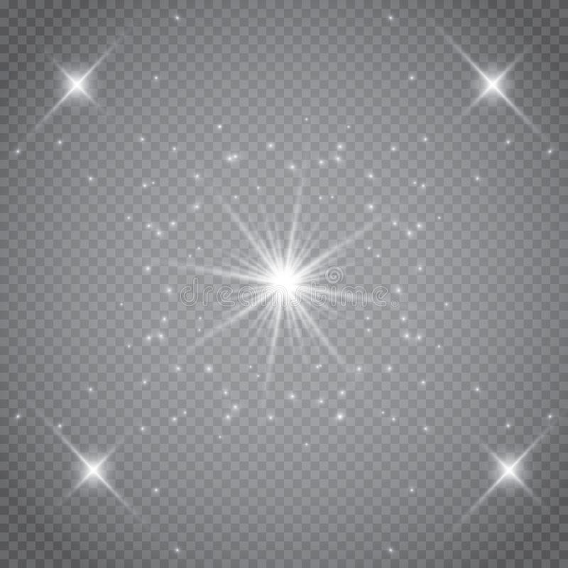 Sistema de efectos luminosos que brillan intensamente de oro aislado sobre fondo transparente Flash de Sun con los rayos y el pro ilustración del vector