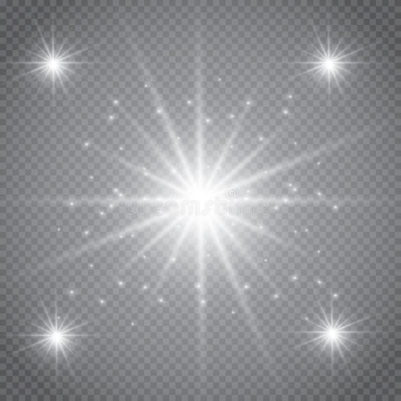 Sistema de efectos luminosos que brillan intensamente de oro aislado sobre fondo transparente Flash de Sun con los rayos y el pro stock de ilustración