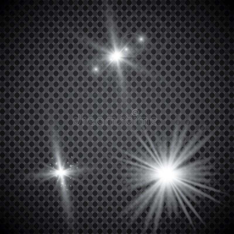 Sistema de efectos luminosos que brillan intensamente de oro aislado sobre fondo transparente Flash de Sun con los rayos y el pro libre illustration
