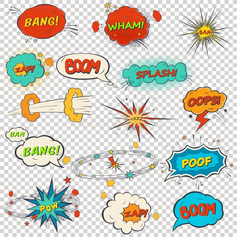 Sistema de efectos sonoros cómicos multicolores stock de ilustración