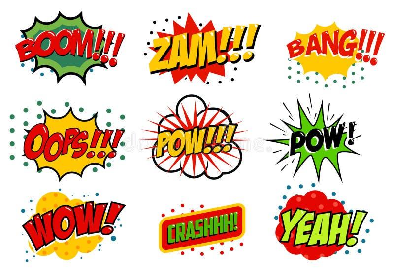 Sistema de efectos sonoros del estilo cómico Ilustración del vector libre illustration