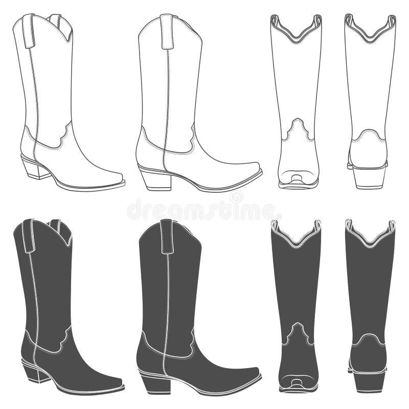 Sistema de ejemplos blancos y negros con las botas de vaquero Objetos aislados del vector libre illustration