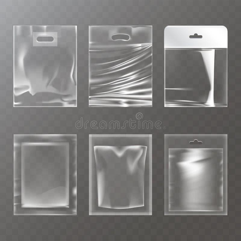 Sistema de ejemplos de bolsos vacíos plásticos transparentes, empaquetando stock de ilustración