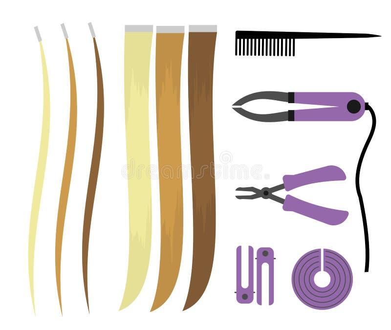 Sistema de ejemplos de iconos de las extensiones del pelo Herramientas del peluquero para el procedimiento Enrollamientos de arri stock de ilustración