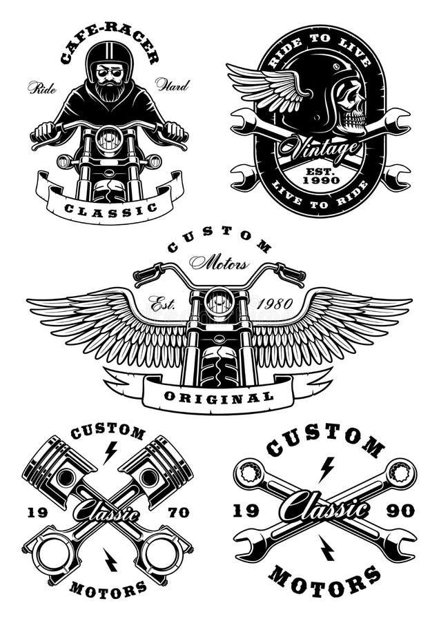 Sistema de 5 ejemplos del motorista del vintage en background_2 blanco ilustración del vector