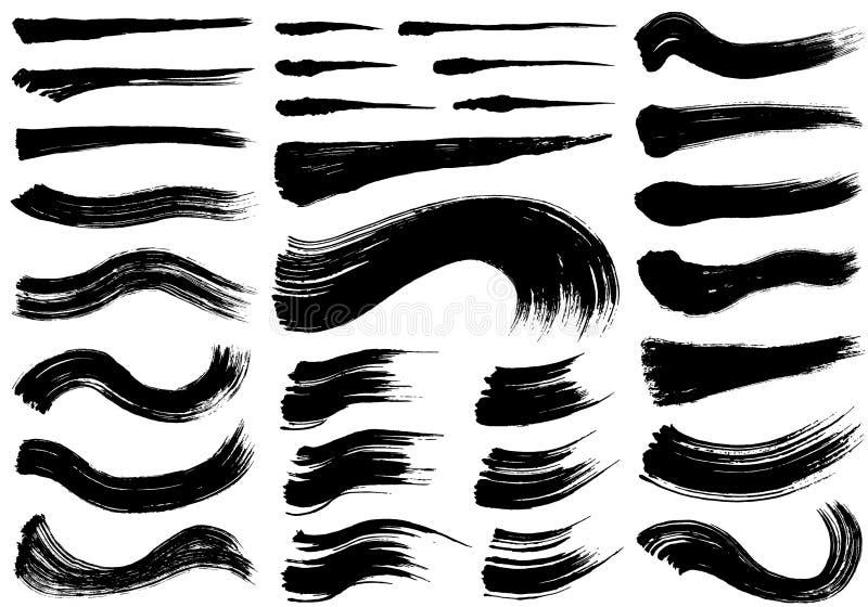 Sistema de ejemplos del movimiento del cepillo ilustración del vector