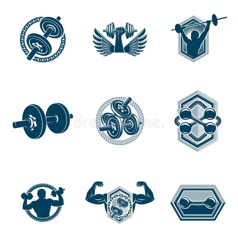 Sistema de ejemplos del tema del levantamiento de pesas del vector hechos usando pesas de gimnasia, barbells y el equipo de depor ilustración del vector