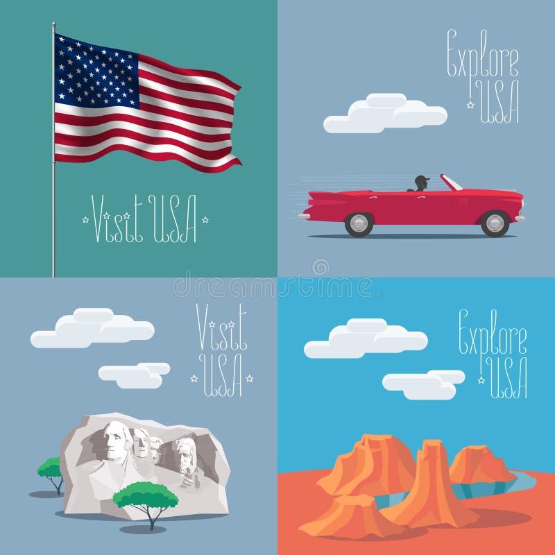 Sistema de ejemplos del vector con símbolos americanos stock de ilustración