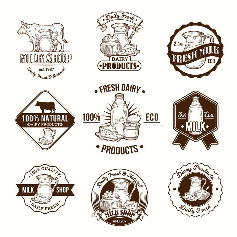 Sistema de ejemplos del vector, de insignias, de etiquetas engomadas, de etiquetas, de logotipo, de los sellos para la leche y de ilustración del vector