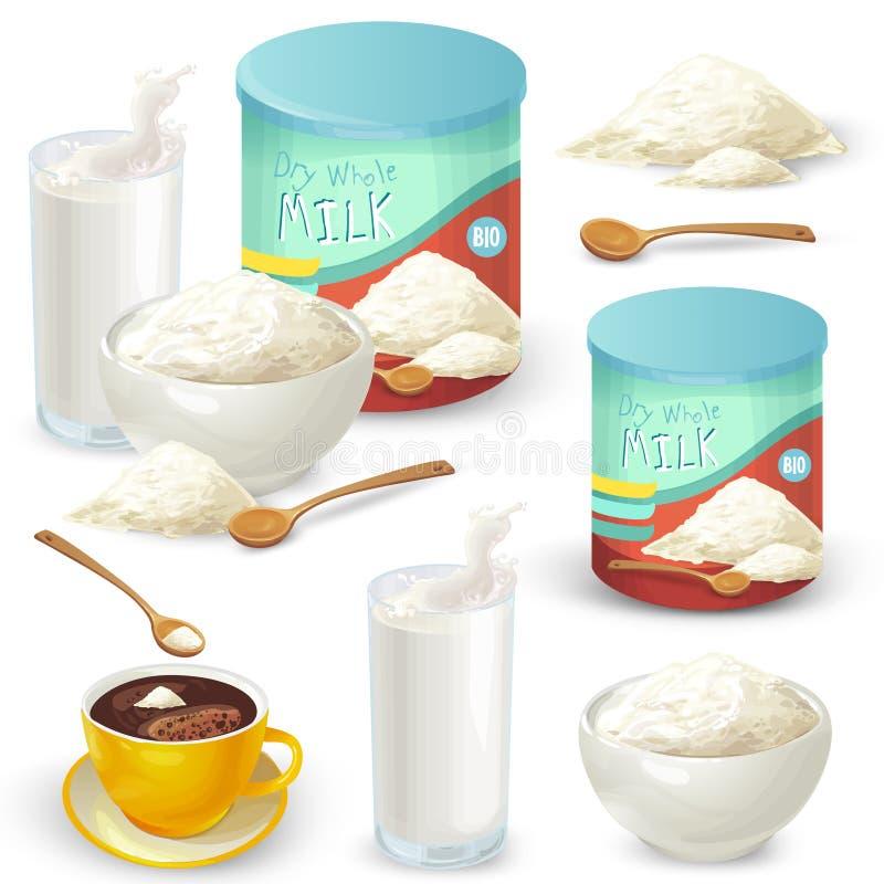 Sistema de ejemplos del vector del color leche en polvo entera stock de ilustración