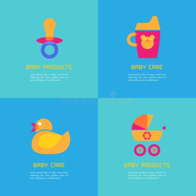 Sistema de ejemplos del vector del pato de goma, soother, taza sippy, carro stock de ilustración