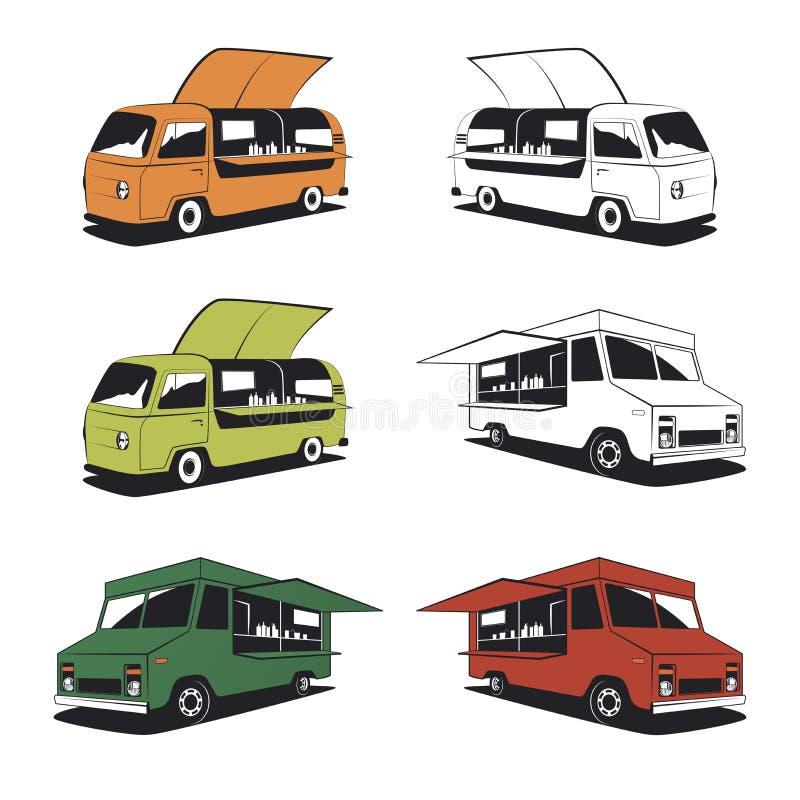 Sistema de ejemplos retros del camión de la comida ilustración del vector