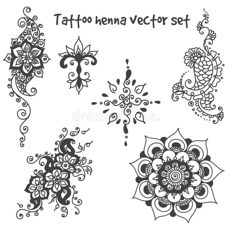 Sistema de elemento de la alheña del tatuaje libre illustration