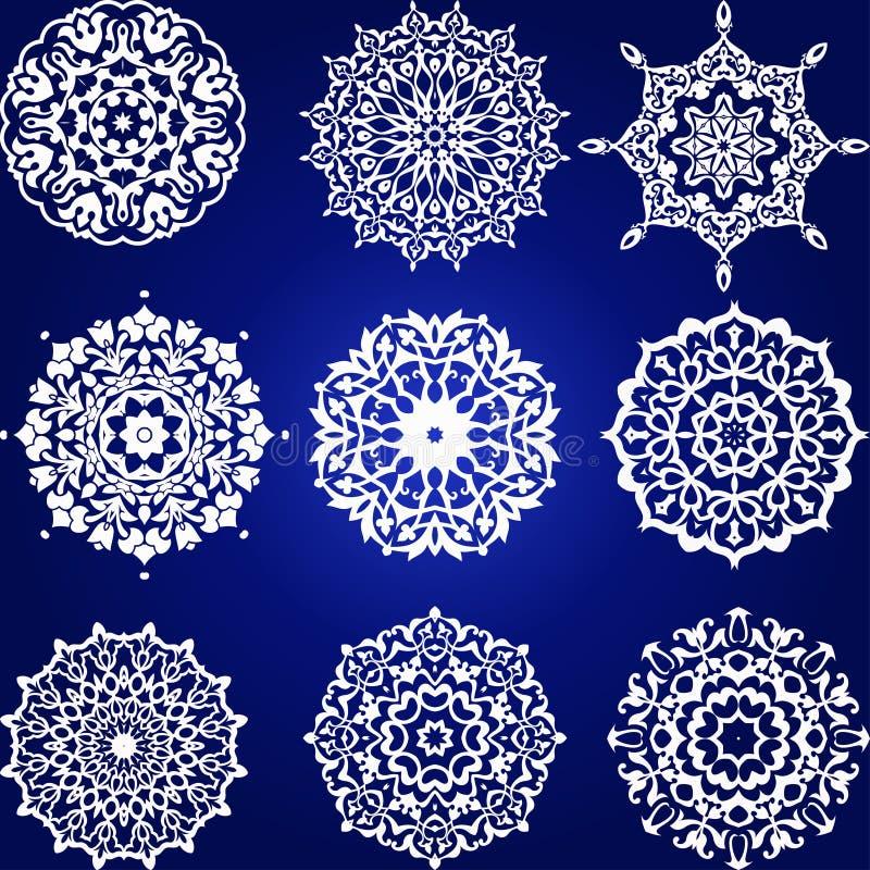 Sistema de elemento floral decorativo, copos de nieve libre illustration
