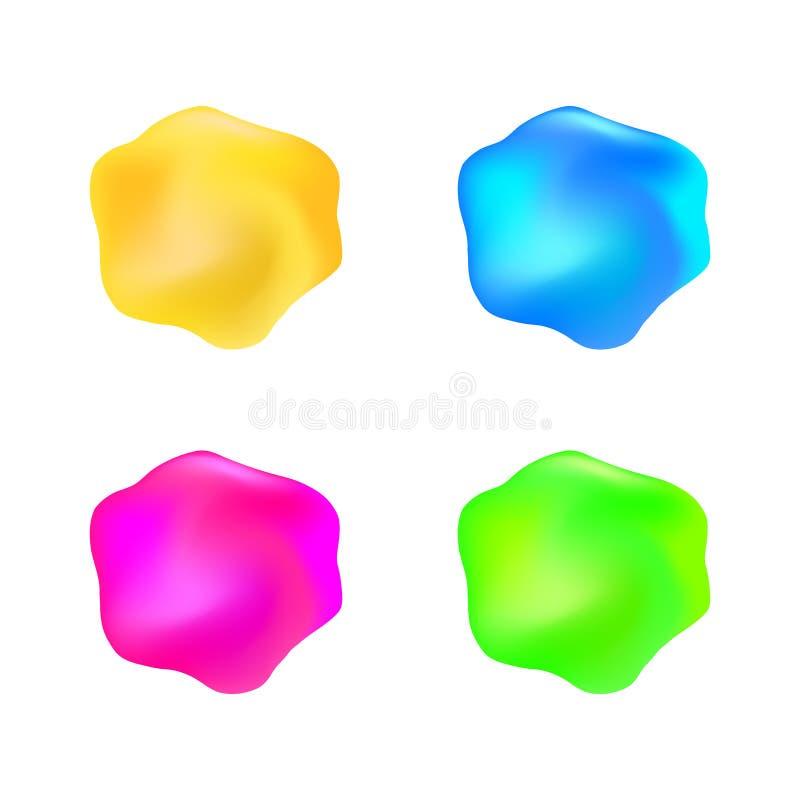 Sistema de elemento líquido del diseño de la jalea informe brillante abstracta del color libre illustration