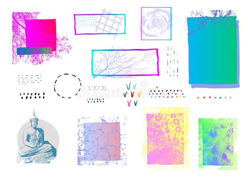 Sistema de elementos abstracto extraño del marco stock de ilustración