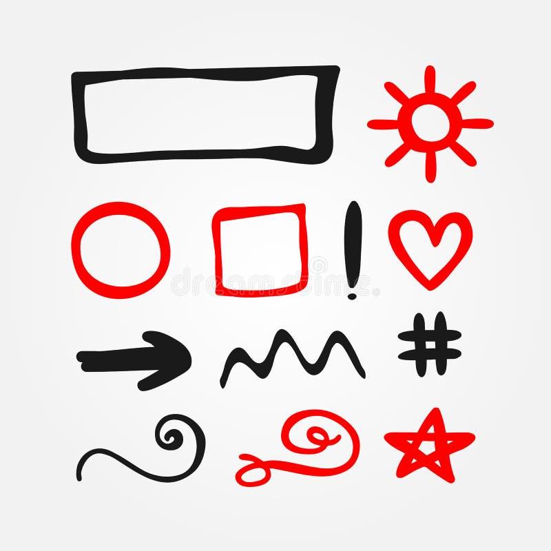 Sistema de elementos aislados del garabato del rojo y del negro Dibujado a mano stock de ilustración